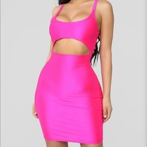 Hot Pink Mini Dress with cut out